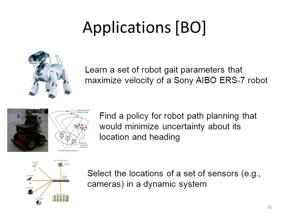 Applications [BO] Learn a set of robot gait parameters that maximize velocity of a Sony AIBO ERS-7 robot.